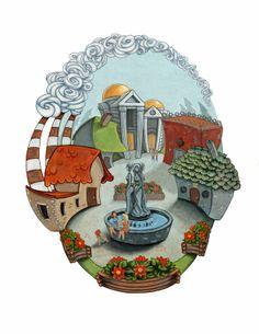 Camp Halfblood. Sandy Vazan Illustration. Half Blood, Romans, Snow Globes, Camping, Draw, Gallery, Illustration, Greeks, Percy Jackson