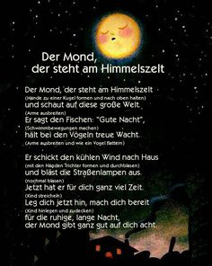 Der Mond, der steht am Himmelszelt Kindergarten Portfolio, Kindergarten Projects, Life Skills, Life Lessons, Good Night Song, After School Club, Learn German, Life Lesson Quotes, German Language