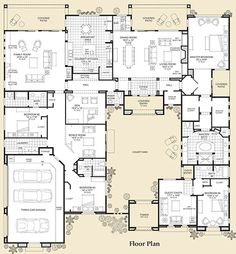 TOP 5 contender with a few changes. Floor Plan is what I like. I do not care for the exterior of the plan. Dream House Plans, House Floor Plans, My Dream Home, House Plans With Courtyard, Interior Courtyard House Plans, Mansion Floor Plans, Dream Homes, Castle House Plans, Bedroom Floor Plans