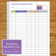 Free mileage log template work pinterest template free mileage log form in purple blue and orange to track your miles driven related to your wajeb Images