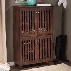 Shoe-Storage-Cabinet-6-Shelf-4-Doors-Entryway-Organizer-Hall-Wood-Rack-Brown-Oak