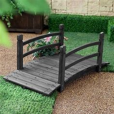 4-Ft Garden Bridge with Hand-Rails in Dark Wood Stain