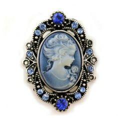 Royal Antique Blue Cameo Brooch Pin ✿⊱╮