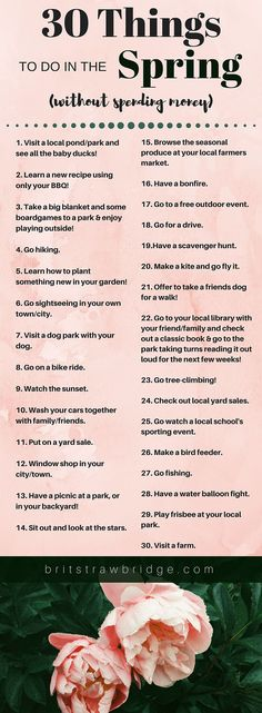 30 Things to do in the Spring (without spending money!)