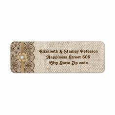 Brown lace, linen burlap wedding labels