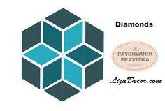 #patchwork #diamonds #diamant #patchworkovévzory #šablony #pravítka