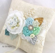 Linen Bridal Ring Bearer Pillow in White Mint Green by SolBijou, $115.00