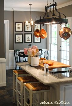 Dear Lillie: Matt and Meredith's HUGE Kitchen Makeover Benjamin Moore- Chelsea Gray Huge Kitchen, Kitchen Dining, Kitchen Decor, Kitchen Island, Kitchen Countertops, Kitchen Knobs, Dining Rooms, Pot Hanger Kitchen, Kitchen Cabinets