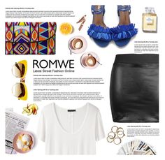 """""""Romwe Leather Skirt"""" by natza ❤ liked on Polyvore featuring Martha Stewart, The Row, ASPIGA, Dolce&Gabbana, Chronicle Books and Chanel"""
