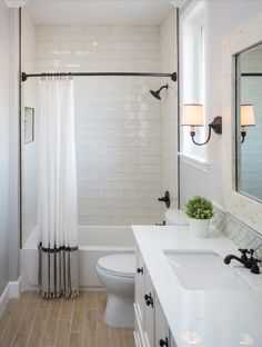 Bathroom Tile Decorating Ideas I Love The Height Of The Shower Curtains And How They Used Two