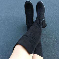 Black zipper thigh high boot