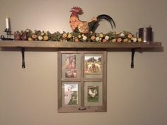 decorated wood shelf
