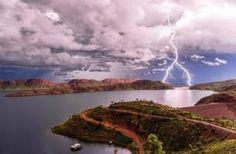 Forked lightning over Lake Argyle in the Kimberley, Western Australia, February 2016