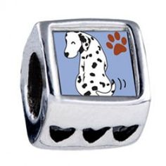 Grin Dalmatian Dog Heart European Charms  Fit pandora,trollbeads,chamilia,biagi and any customized bracelet/necklaces. #Jewelry #Fashion #Silver# handcraft #DIY #Accessory