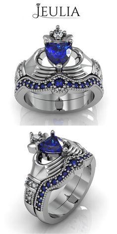Heart Cut Sapphire Rhodium Plating Sterling Silver Women's Ring #jeulia