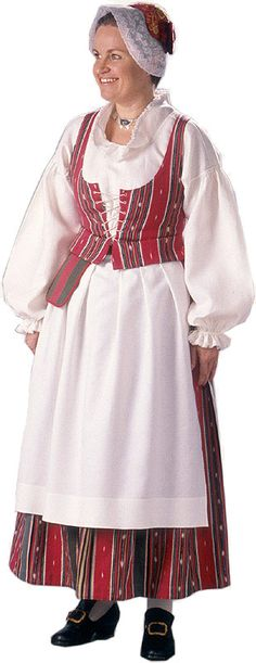 Urjalan naisen kansallispuku. Kuva © Suomen kansallispukuneuvosto, Timo Ripatti 1991 Costume Patterns, Daily Dress, Folk Costume, Traditional Dresses, In This World, Folklore, Fashion Dresses, Bell Sleeve Top, How To Wear
