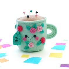 Pin Cushions, Pillows, Felt Hearts, Tea Cups, Objects, Mugs, My Favorite Things, Tableware, Gifts