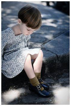 • G i R L • She is so cute - I love her haircut and her Mary Janes.