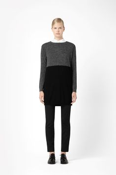 Colour-block knit tunic