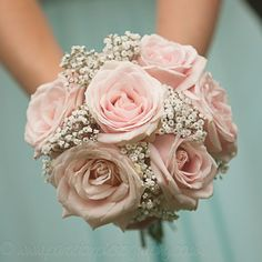 Wedding Bouquet Pastel Bouquet, Pink Roses ,Gypsophila to go along with the salmon/pink theme - Prom Flowers, Bridesmaid Flowers, Bridal Flowers, Wedding Bridesmaids, Bouquet Bride, Prom Bouquet, Flower Bouquet Wedding, Bouquet Flowers, Small Bouquet