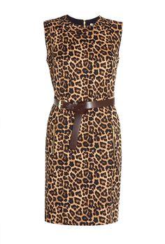 Jaguar Print Belted Ponte Shift Dress by Michael Kors