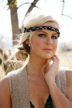 Beautiful headband can also be worn as a bracelet - Mara  Black Rhinestone Lace Halo Headband by ilycouture on Etsy, $70.00