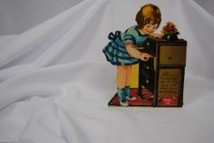vtg valentine card German standup cardboard mechanical Girl opening drawer
