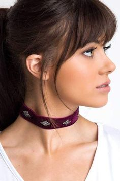 Nothing could ever compare to this burgundy Analeigh Velvet Choker! Features an inchthick velveteen fabric in a choker styling Five silver rhombus shaped emblems Silver hardware Adjustable lobster clasp 10 25 Length 1 Width 4 25 Extender Impor - b Fringe Hairstyles, Trendy Hairstyles, Bob Hairstyles, Long Face Hairstyles, Wedding Hairstyles, Long Hair With Bangs, Haircuts With Bangs, Bang Haircuts, Thick Bangs