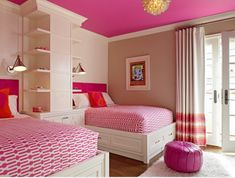 Create colorful kids rooms by painting the ceiling a bright hue.