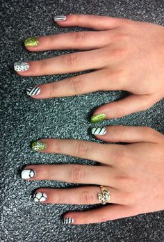 Gel Full Set with black and white geometric nail art, green glitter and crystal bows. Nails by Megan Lee