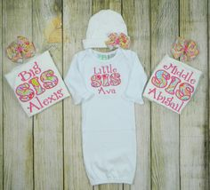 Newborn Gown Sister Matching Outfits by PrettyLittleRose on Etsy, $80.00
