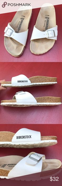 Birkenstock Sandals - White Madrid Shoes Birkenstock Shoes - Casual Women's Madrid Sandals  • White  • Smooth leather upper • Slip on styling with a single strap across the top  • Thick, supportive sole • Size 38 - fits a women's size 7  Good condition with clean interiors and lots of life left. One very small gray scuff on the side Birkenstock Shoes Sandals
