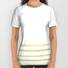 Buy White and Gold Stripes All Over Print Shirt by xiari. Worldwide shipping available at Society6.com. Just one of millions of high quality products available. tee, tees, t-shirt, fashion, fashionista, fashionable, style, trend, white, gold, golden, stripes, lines, minimal, minimalism, minimalist, pattern, straight, luxury, glamour, duvet, bed, art print, gold leaf, tapestry