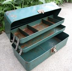 Union Mid Century Green Metal Tacklebox by lingerawhile on Etsy https://www.etsy.com/listing/290762863/union-mid-century-green-metal-tacklebox