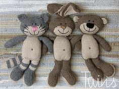 Twins Knitting Pattern MiniShop: Happy Pets, flat trio (in English)