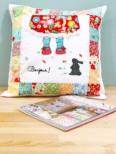 Shari of @DoohikeyDesigns created this cute pillow with her Wistful Winds collection for Riley Blake Designs for the Quilt Petite Blog Tour, Sedef Imer's latest book.