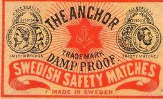 THE ANCHOR SWEDEN MATCHBOX LABEL OLD SWEDISH [18] | eBay