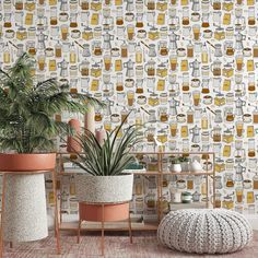 Coffee Pattern Removable Wallpaper, Cup of Joe Wall Cling, Vintage Peel and Stick, Modern Home Decor, Pretty Decorative Wall Mural Decal - Canvas Wall Decal / 1 roll: 24W x 132H
