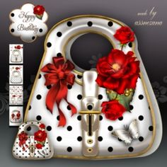 White Polka Dot Handbag Card Mini Kit on Craftsuprint - View Now!