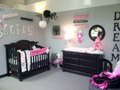 http://suitedreamsforkids.com Pink and gray baby room idea.