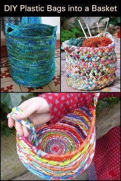 Got lots of plastic bags turn them into a basket! plarn how to upcycle plastic bags into yarn Reuse Plastic Bags, Plastic Bag Crafts, Plastic Bag Crochet, Plastic Recycling, Yarn Crafts, Sewing Crafts, Sewing Projects, Craft Projects, Recycling Projects