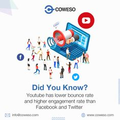 Youtube has lower bounce rate and higher engagment rate than Facebook and Twitter. Bounce Rate, Make It Happen, Promote Your Business, App Development, New Technology, Be Yourself Quotes, Lorem Ipsum, Mobile App, Did You Know