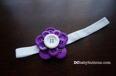 Handmade Girls Purple & White Button #FlowerHeadband, Adorable Children's Hair Accessory #dcbabybuttons #buttonart