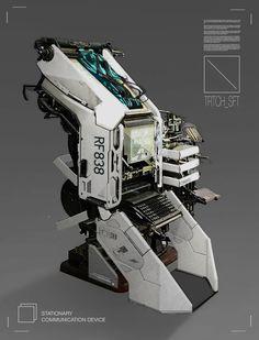 Comms Unit 01 by Branford Meentzen on ArtStation. Sci Fi Environment, Environment Design, Cyberpunk, Science Fiction, Spaceship Interior, Futuristic Technology, Technology Careers, Prop Design, Mechanical Design