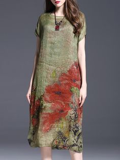 Green Short Sleeve Printed Floral Midi Dress - StyleWe.com