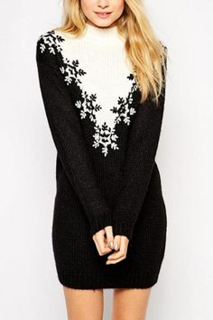 Snowflakes Print Black Long Sleeve Pullover Sweater