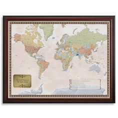 Personalized World Traveler Map Set - Framed