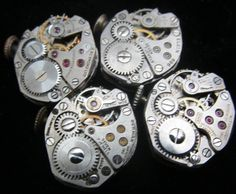 4 Vintage Watch Movements Parts Steampunk by amystevensoriginals