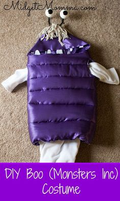 DIY Monsters Inc Boo Costume. Who doesn't love the adorableness of Boo from Monsters Inc. This costume might look hard to make but it is an easy to make costume. Just follow the simple costume directions and your little one will be Boo from Monsters Inc in no time :)