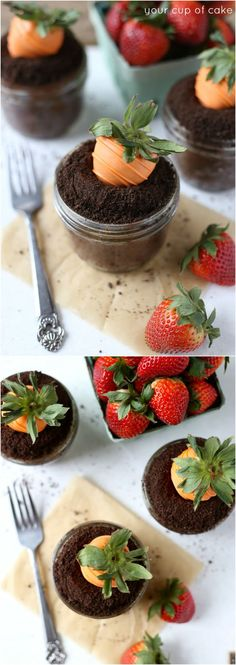Adorable Garden Carrot Cupcakes with strawberries dipped in orange whir chocolate to look like carrots!